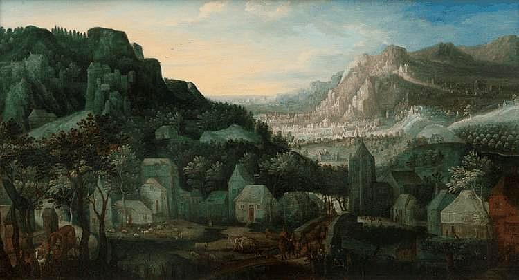 Josef van BREDAEL (Anvers 1688 - Paris 1739)Paysage avec des promeneurs.Panneau de chêne, une planche, non parqueté.36 x 63,5 cm.