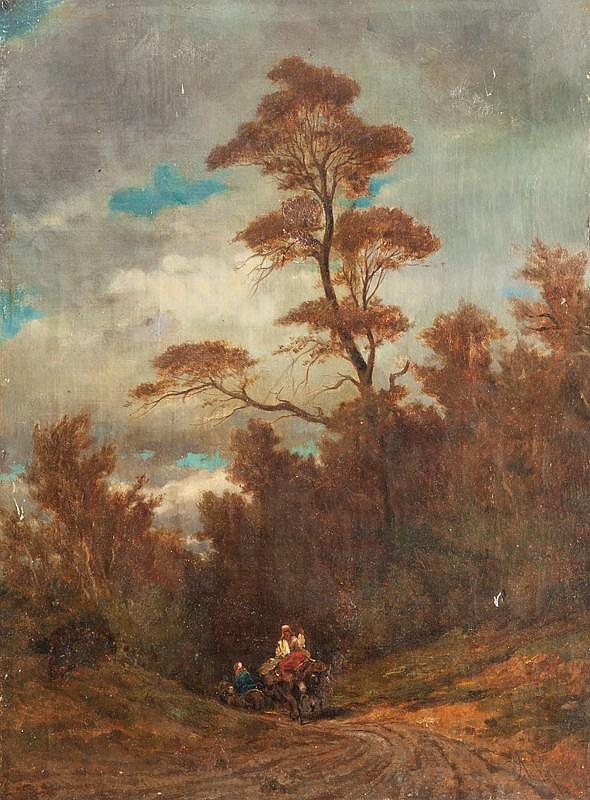 Emile LOUBON (1809-1863)Personnages sur le chemin.Huile sur toile.Signée en bas à droite.64 x 46 cm.
