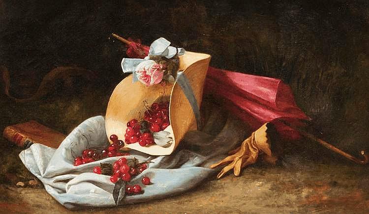 Geneviève FAVRE MARITAIN (XIX)Souvenir de Jean-Jacques Rousseau.Huile sur toile.Signée en bas à gauche.64 x 104 cm.