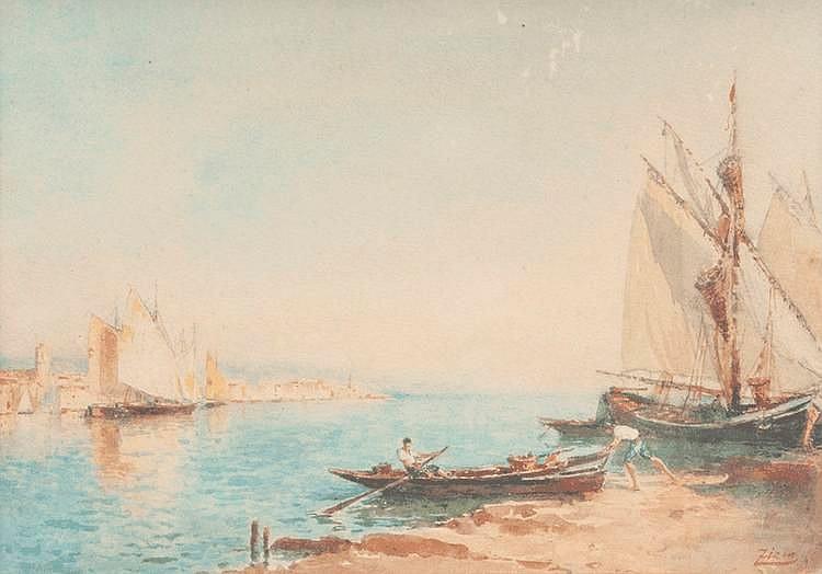 Félix ZIEM (1821-1911)Pécheurs aux Martigues.Aquarelle.Signée en bas à droite.20 x 27 cm.