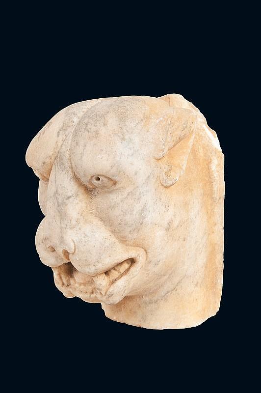 Extrémité de gargouilleEn pierre calcaire sculptée représentant une têted'animal fantastique.Epoque XIIème siècle.H. : 18 cm.