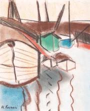 Antoine FERRARI (1910-1995) Barques à quai