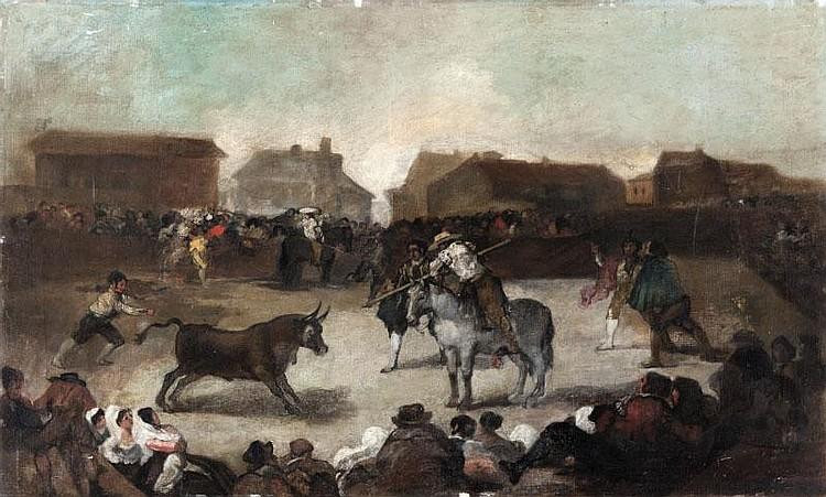 Antonio Perez RUBIO(1822-1888) d'aprèsCorrida de toros en el pueblo.Huile sur toile.45 x 74 cm.
