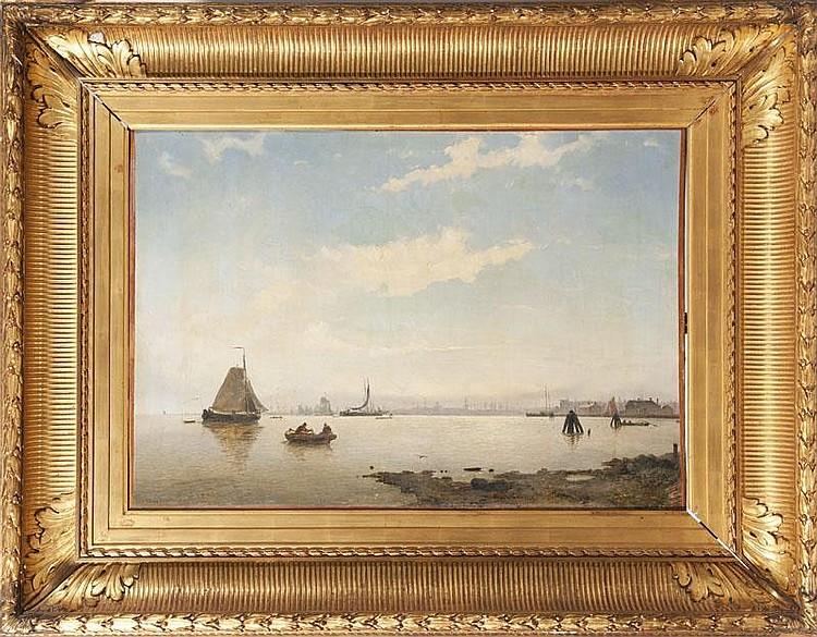 Willem Antonie van DEVENTER (1824-1893)L'entrée du Port d'Amsterdam.Huile sur toile.Signée et datée 49 en bas à gauche.60 x 85 cm.