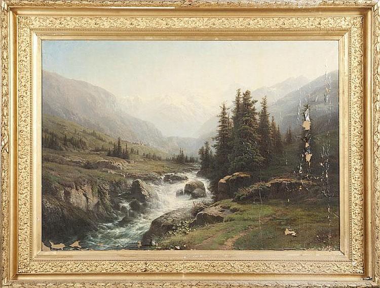 Leberecht LORTET (1826-1901)Paysage de montagne.Huile sur toile.Signée en bas à droite.110 x 152 cm.(accident et manques).