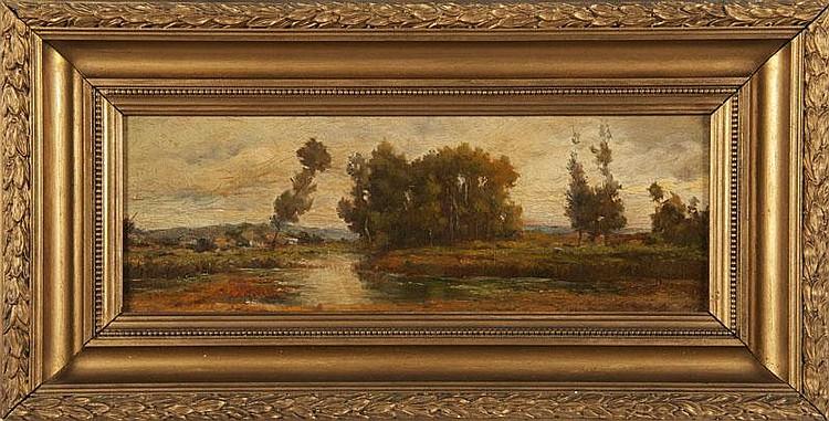 Marius ENGALIERE (1824-1857)Paysage en provence.Huile sur panneau.Signée en bas à droite.14,5 x 40 cm.