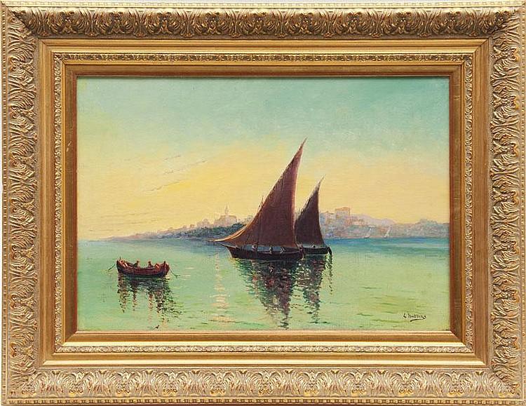 Louis NATTERO (1870-1915)Soleil levant en rade d'Antibes.Huile sur toile.Signée en bas à droite.38 x 55 cm.