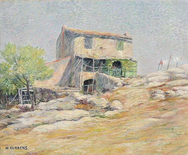 Henri AURRENS (1876-1934)    Vue d'un mas en Provence.    Huile sur toile.    Signée en bas à gauche.    50 x 61 cm.