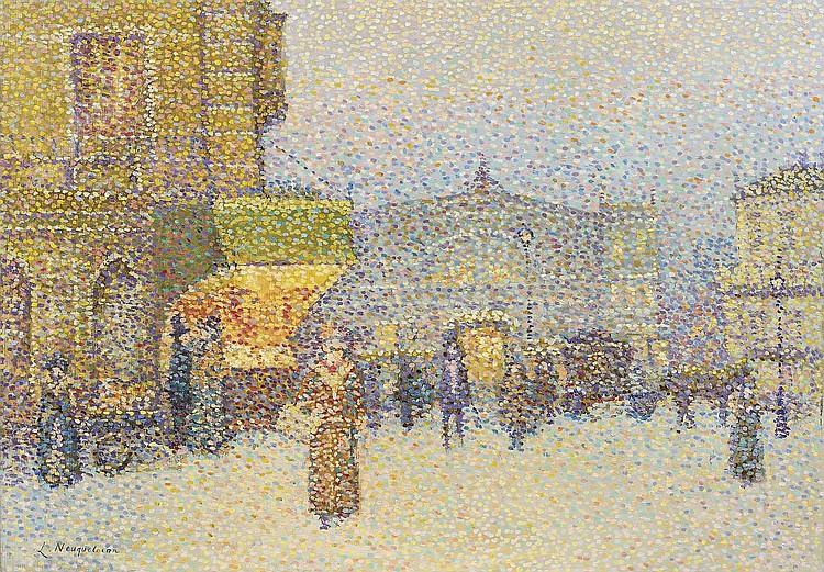 Lucien NEUQUELMAN (1909-1988)    Scène animée à Paris.    Huile sur toile.    Signée en bas à gauche.    65 x 93 cm.