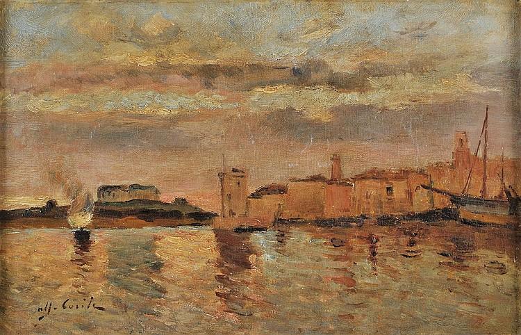 Alfred CASILE (1848-1909)    Le port de Marseille.    Huile sur toile.    Signée en bas à gauche.    27,5 x 41 cm.
