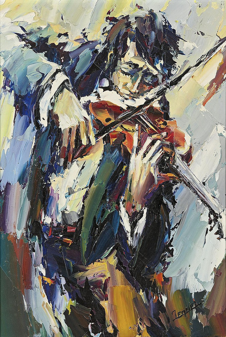 Christian JEQUEL    Le violoniste.    Huile sur toile.    Signée en bas à droite.    56 x 40 cm.