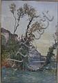 Louis Alexandre CABIE (1854-1939)    Le couchant, les Eyzies.    Aquarelle.    Signée, située et datée 1900 en bas à gauche.    55 x 38 cm., Louis Alexandre Cabie, Click for value