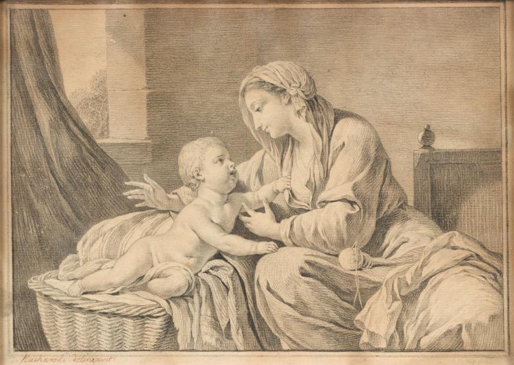 Alexandre KUCHARSKI (Varsovie 1741 - Paris 1819)   Vierge et l'enfant