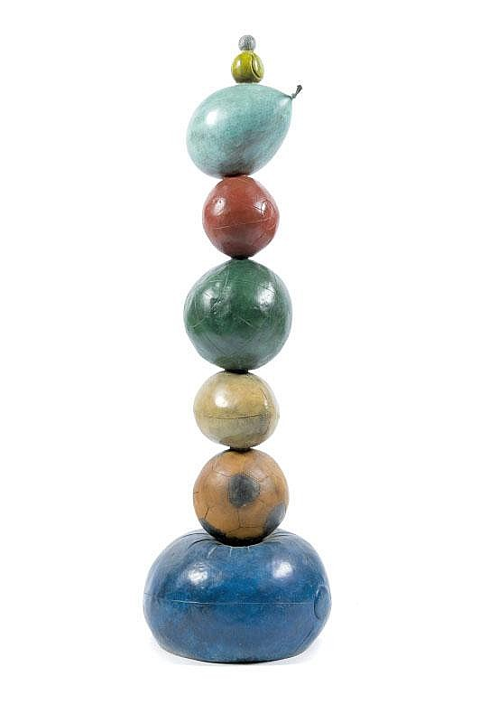 Philipe BERRY (1956)Totem de ballons, 2005.Bronze à patine colorée.Signé.Epreuve d'artiste II/IV.140 x 45 cm.