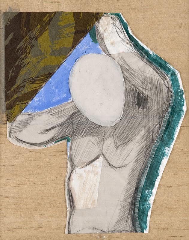 Pierre Michel BURAGLIO (1939)Le baigneur, de la série l'autoportrait.Technique mixte sur panneau.Signée et datée.Dans son encadrement d'origine créé par l'artiste.48 x 39,5 cm.