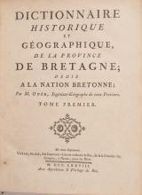 OGeE (Jean-Baptiste). - Dictionnaire historique et geographique, de la province de Bretagne, dedie a la nation bretonne. Nantes, Vatar fils aine, 1778-