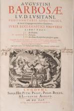 ( RELIGION ) - BARBOSA (Agostinho). - Augustini Barbosae (...) Juris Ecclesiastici Universi, Libri Tres In Quorum I. De Personis II. De Locis III. De Rebus