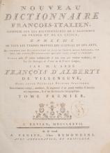 ( LITTERATURE ) ALBERTI DE VILLENEUVE (Francois dâ??). - Nouveau dictionnaire francois â?? italien (...) dans cette premiere edition italienne Nouvellement