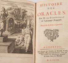 FONTENELLE (Bernard Le Bouyer de). - OEuvres Diverses. Nouveaux Dialogues des Morts. Entretiens sur la Pluralite des Mondes. Histoire des Oracles.