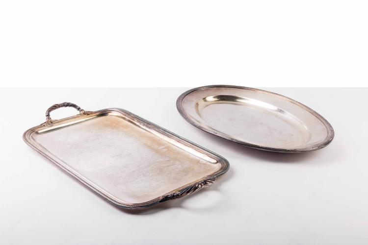 Compagnie des Messageries Maritimes Plateau ovale métal argenté Christofle.