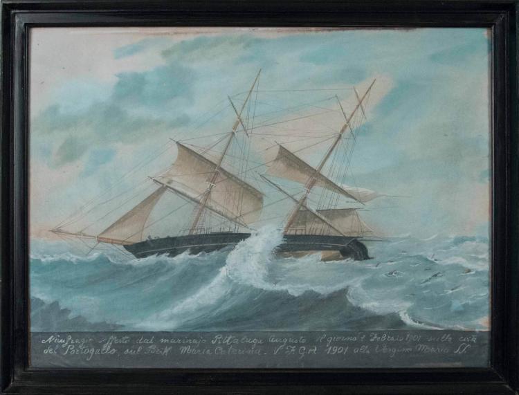 Anonyme Scène de naufrage, 7 février 1901, sur les côtes du Portugal du brik Maria Caterina. Aquarelle. 41 x 55 cm.