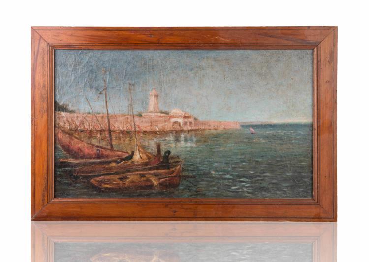 Anonyme Port d'Afrique du Nord. Huile sur toile.