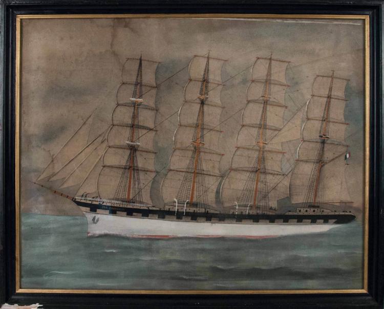 Anonyme Le San Francisco, 4 mâts barque français. Aquarelle et crayon. Fin XIXème s. 47 x 60 cm.