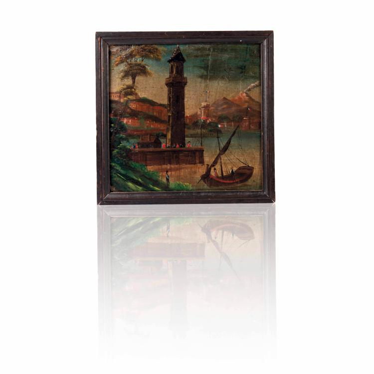 Anonyme Phare. Vue maritime. Huile sur toile.