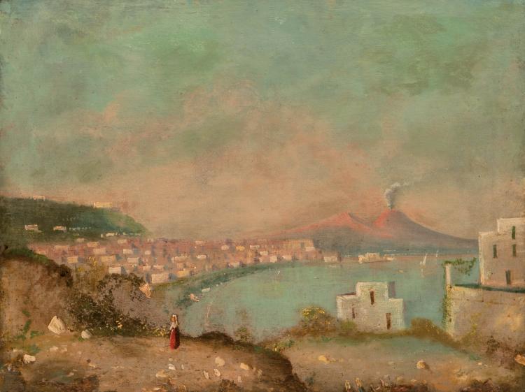 Ecole italienne  La baie de Naples et le Vésuve.  41 x 53 cm.