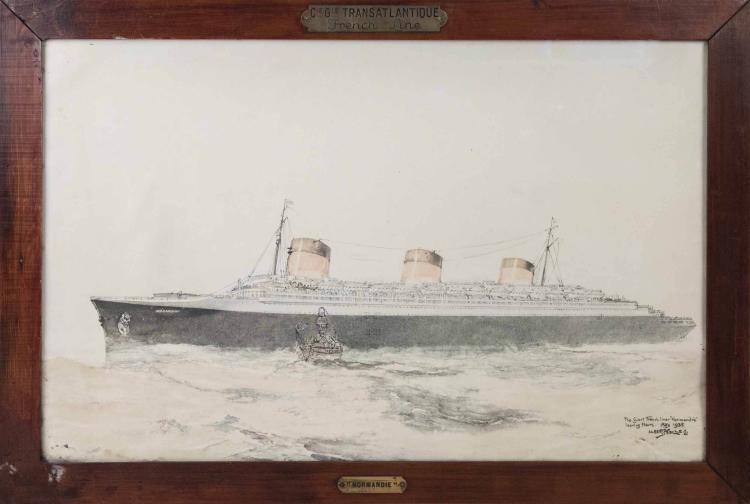 Albert SEBILLE  Chromolithographie du paquebot Normandie.  48 x 76 cm.