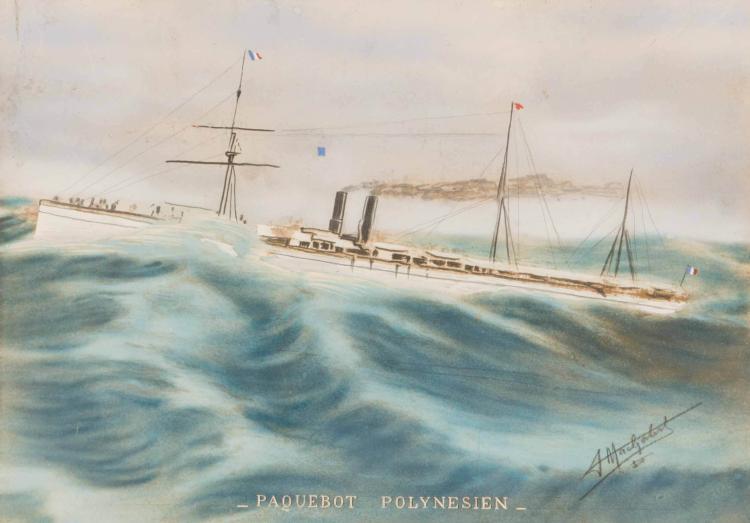Anonyme Le Polynésien et le Nera. Paire d'aquarelles des Messageries Maritimes. 24 x 34 cm. chaque.