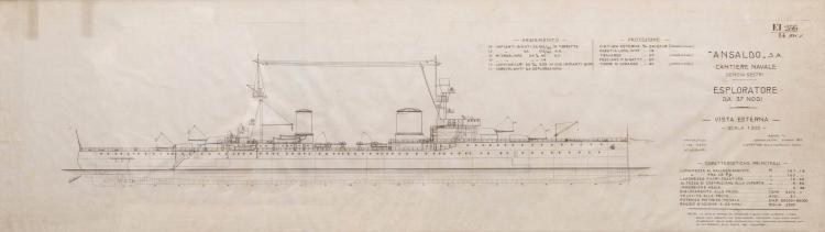 Plan d'Aviso, 37 nodi ANSALDO-GENOVA, encre de chine, 38 x 129 cm.