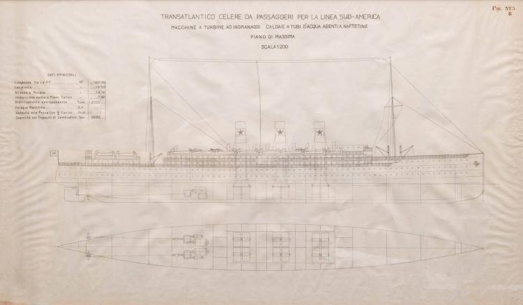 Plan de Paquebot pour l'Amérique du Sud, encre de chine, 62 x 104 cm.