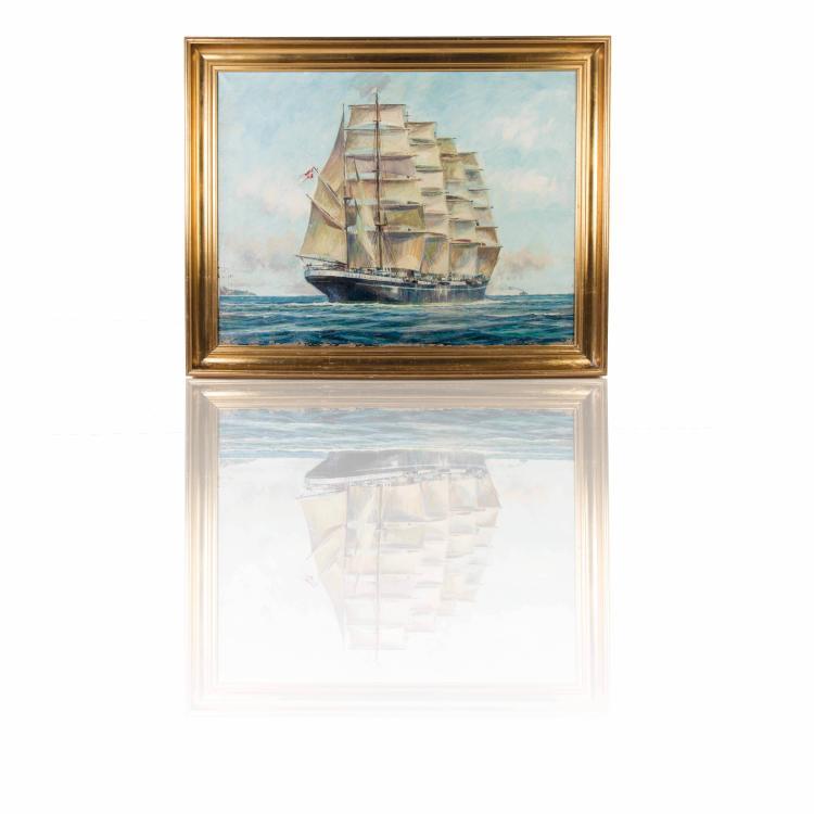 Soren Brunoe   Portrait du voilier «KOBENAVEN» Huile sur toile 60 x 81 cm.