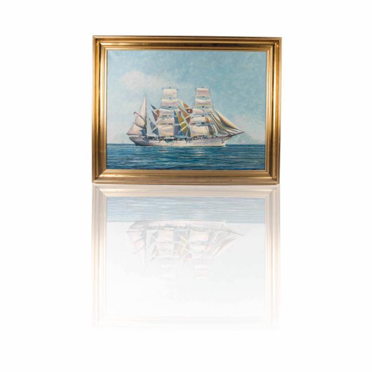 Soren Brunoe   Portrait du voilier «GORTH FORK» Huile sur toile 60 x 81 cm.