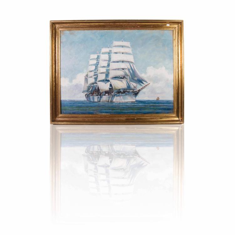 Soren Brunoe   Portrait du voilier «NIPPON MARU» Huile sur toile 60 x 80 cm.