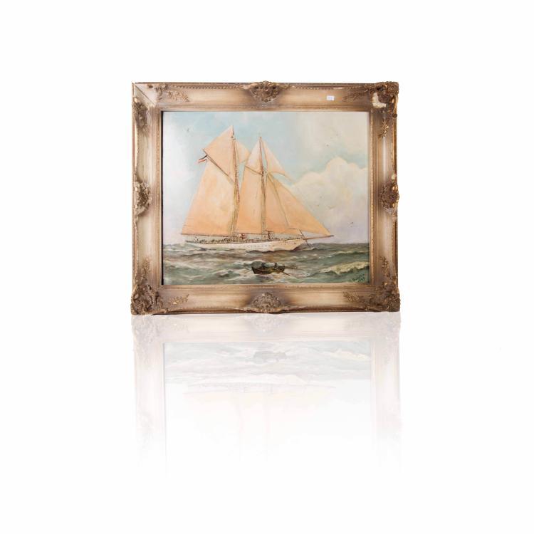 M. Badstein Yacht Huile sur toile 50 x 59 cm