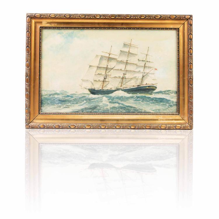 Portrait de voilier Huile sur toile 30 x 48 cm.