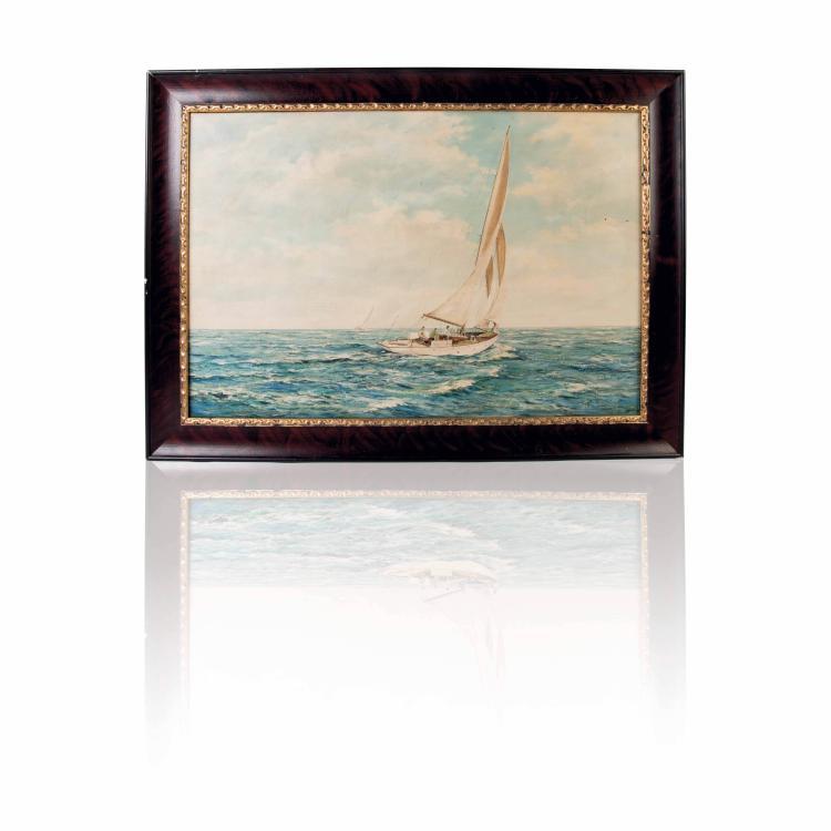 Régate Huile sur toile 60 x 92 cm.