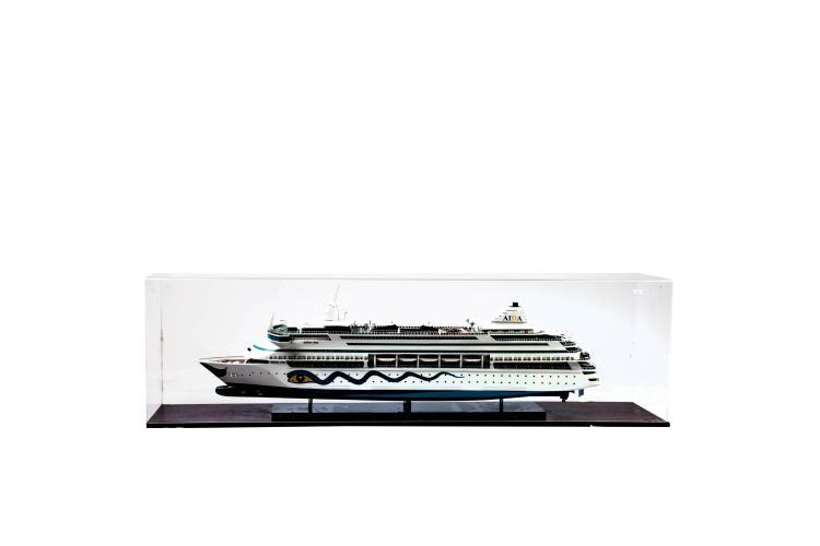 Maquette «AIDA VITA», dans une vitrine en plexiglas, 40 x 130 x 25 cm.