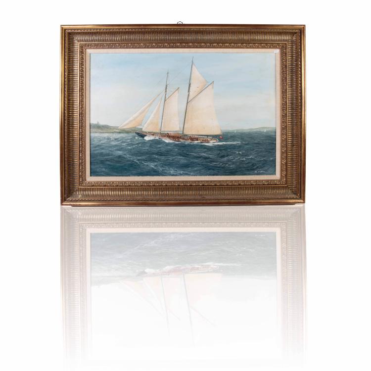 John Holmes   Goélette «KIRIN» Huile sur toile. Signée en bas à droite 50 x 76 cm.