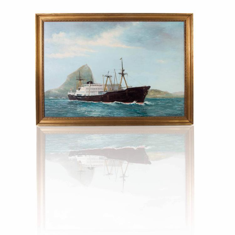 Maquette U.SS «WHIDBEY ISLAND», LDS 41 dans une vitrine.