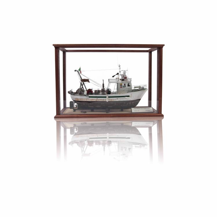 Maquette Chalutier Viareggino dans une vitrine 48 x 70 x 26 cm.