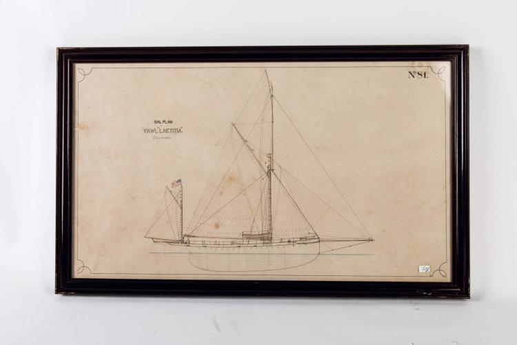 Paire de plans Yawl «LAETITIA» Encre de chine. 47 x 78 cm.