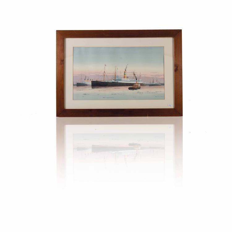 Fred Johnson Vue de port Aquarelle. 27 x 47 cm.