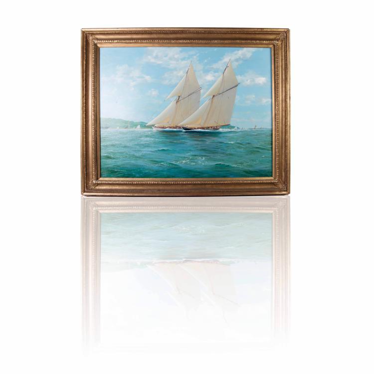 M.J. Whitehand   Regate Huile sur toile. 76 x 102 cm.