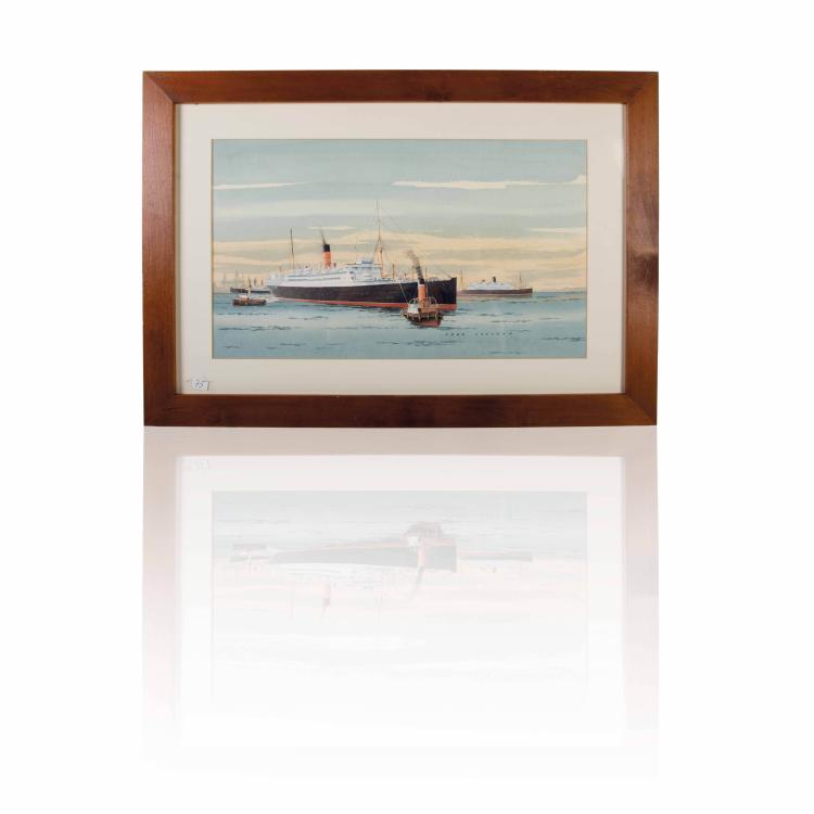 Fred Johnson Vue de port Aquarelle. Signée en bas à droite 27 x 47 cm.