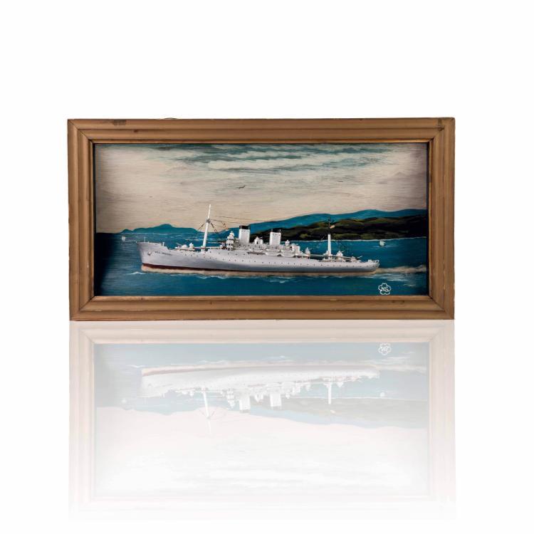 Diorama de Croiseur américain «USS MITCHELL», 31 x 58 x 8 cm.