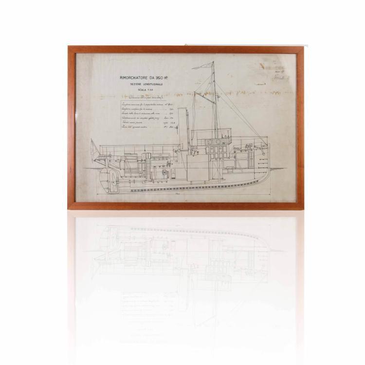 Plan de remorqueur, 350 HP Encre de chine 40 x 60 cm.
