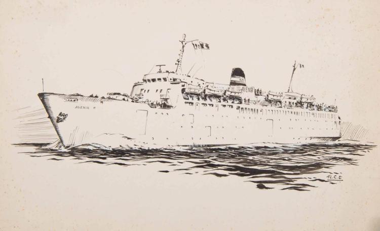 CHAPELET Roger   L'Avenir, Paquebot carferry, Compagnie de Navigation Mixte Encre de Chine, 20 x 32,5 cm. Monogrammé en bas à droite